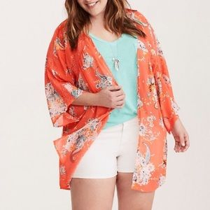 Torrid Floral Lace Inset Kimono